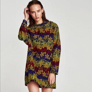 NWOT ZARA   Warm Oversized Embroidered Mini Dress